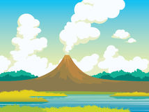 Summer landscape - volcano, lake, grass, clouds. Summer landscape with active volcano, calm lake, green grass and cumulus clouds on a blue sky. Natural Stock Images