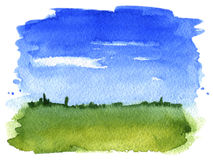 Summer landscape watercolor Royalty Free Stock Image