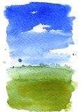 Summer landscape watercolor Stock Photo