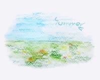 Summer landscape, watercolor illustration, vector Stock Image