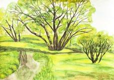 Summer landscape, watercolours Stock Image