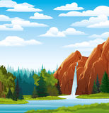 Summer landscape with waterfall Royalty Free Stock Photos
