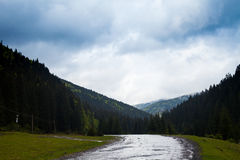 Summer landscape and wet road. Incredible view of summer nature with high mountains  and wet road after rain Stock Image