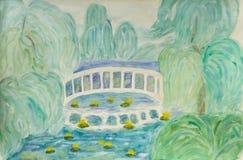 Summer landscape with white bridge, watercolours. Hand painted picture, watercolours - summer landscape with white bridge on river and trees in park Stock Photo