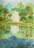 Summer landscape with white pavilion, watercolours. Hand painted picture, watercolours - summer landscape with white pavilion in park near lake Royalty Free Stock Images