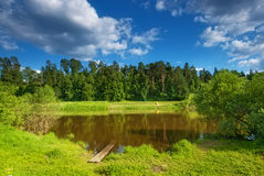 Summer Landscape With A Small Lake Stock Photos