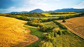 Free Summer Landscape With Fields, Meadows And Railroad Bridge In Mountains Stock Photography - 174129772
