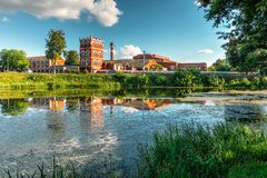 Free Summer Landscape With Paper Mill On The River Stock Images - 126498984