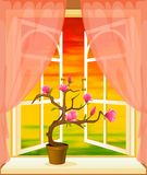 The summer landscape in Wood window Stock Photo