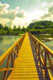 Summer landscape - wooden bridge over the lake Royalty Free Stock Images