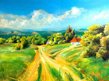 Summer landscapes. Summer scene of landscapes, this is oil painting and I am author of this image Royalty Free Stock Images
