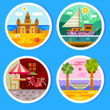 Summer landscapes in round badges. Views of the beach: sandcastle and hammock near the ocean. Yacht in the free voyage. Summer cafe in the city center. Vector Royalty Free Stock Image