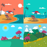 Summer Landscapes Set. Seascape with Palm Trees. Mountain Landscape Royalty Free Stock Photography