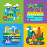 Summer landscapes. Vacation and travel. Alpine village, tropical island. Vector flat  illustrations Stock Photography