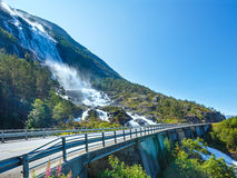 Summer Langfossen waterfall  (Norway). Royalty Free Stock Photography