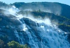 Summer Langfossen waterfall  (Norway). Royalty Free Stock Image