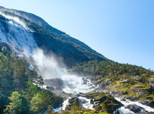 Summer Langfossen waterfall  (Norway). Royalty Free Stock Photo