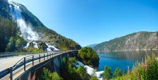 Summer Langfossen waterfall  (Norway). Royalty Free Stock Photography