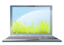 Summer laptop. Laptop with fresh green grass Stock Images