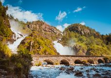 Summer Latefossen Waterfall Odda Norway Stock Images