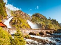 Summer Latefossen Waterfall Odda Norway Stock Photography
