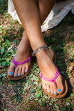 Summer leather flip flops Royalty Free Stock Images