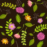 Summer leaves and flowers background seamless. Summer leaves illustration background seamlessly pattern stock illustration