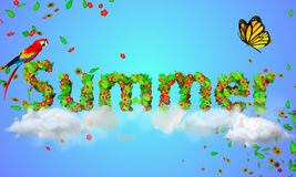 Summer leaves particles 3D. Digital art Royalty Free Stock Images