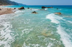 Summer Lefkada coast, Greece royalty free stock image