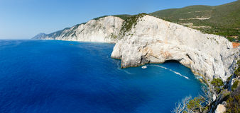 Summer Lefkada Island coast  (Greece). Summer Lefkada Island coastline  (Greece, Ionian Sea) view from up. Two shots composite picture Royalty Free Stock Images