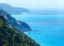 Summer Lefkada Island coast  (Greece). Summer Lefkada Island coast view from up (Greece Royalty Free Stock Image