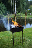 Summer leisure: barbecue in the forest near pond. Royalty Free Stock Images
