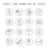 Summer and leisure outline icons. Summer and leisure black outline icons Stock Images