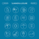 Summer and leisure outline icons. Summer and leisure outline white icons on blue background Stock Images