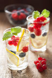 Summer lemonade with berry and lemon Stock Images