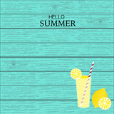 Summer lemonade juice with wood linear background Royalty Free Stock Image