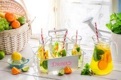 Summer lemonade with lemon and orange Stock Images