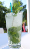 Summer lemonade mojito with lime and mint. Stock Photos