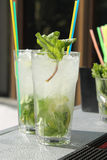 Summer lemonade mojito with lime and mint. Stock Photo