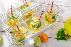 Summer lemonade with orange and lemon Royalty Free Stock Photography