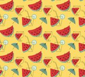 Summer lemonade with watermelon vector wallpaper. Stock Images