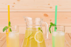 Summer lemonade on wooden background Stock Photography