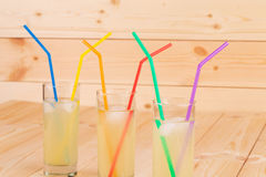 Summer lemonade on wooden background Stock Photos