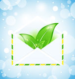 Summer letter with green leaves Stock Image