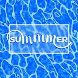 Summer Lettering on Azure Shining Water Surface Background Stock Photos