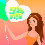 Summer lettering and cute girl with balloons. vector illustration