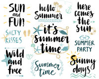 Summer Lettering Design Set - hand drawn. Stock Photo