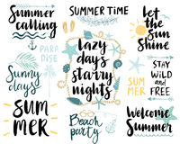 Summer Lettering Design Set - hand drawn. Stock Photography