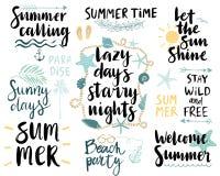 Summer Lettering Design Set - hand drawn. royalty free illustration