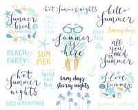 Summer Lettering Design Set - hand drawn Royalty Free Stock Photography